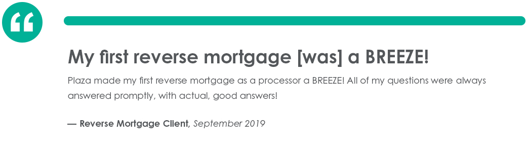 Testimonial from Reverse Mortgage Client in September of 2019